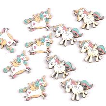 20Pcs mix Single-horned horse wood slices DIY Craft Scrapbooking Accessories for Home Decor Unfinished wooden Ornament m2181(China)