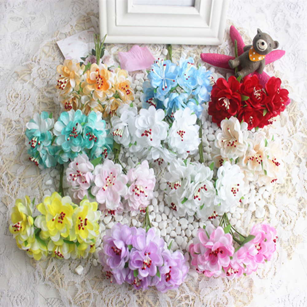 6 pcsdiy simulation straw materials flower parts manual material soft cloth cherry blossom wedding garland arts and crafts image