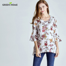 Green Home Chiffon Floral Maternity Nursing Top For Pregnant Women New Sleeve Design Pregnancy Clothes Breastfeeding T-Shirt