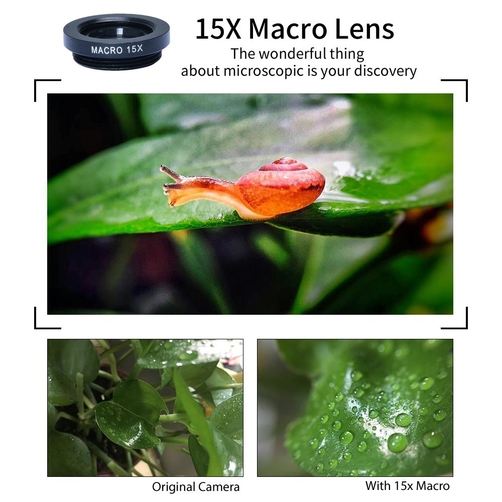 APEXEL 6IN1 phone camera lens 12X Telescope telephoto Zoom+fisheye wide angle macro Lens kit For iPhone7 6S plus Samsung s8 6