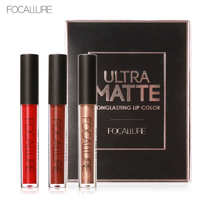 FOCALURE Long Lasting Waterproof Lip Gloss Matte Liquid Lipstick 3Pcs Kit Metal Elegant Lipstick Smooth Lip