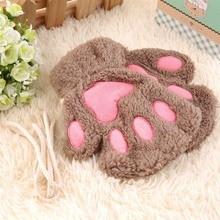 Пушистый», «Медведь», «кошка плюшевая Paw/коготь перчатки новинка Хэллоуин мягкие полотенце наполовину покрыт Для женщин перчатки варежки D1