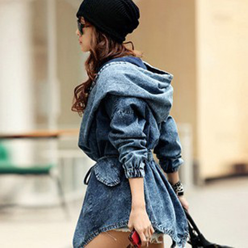 GAOKE Spring autumn loose women denim belt waist tight fashion women   trench   long coat hooded