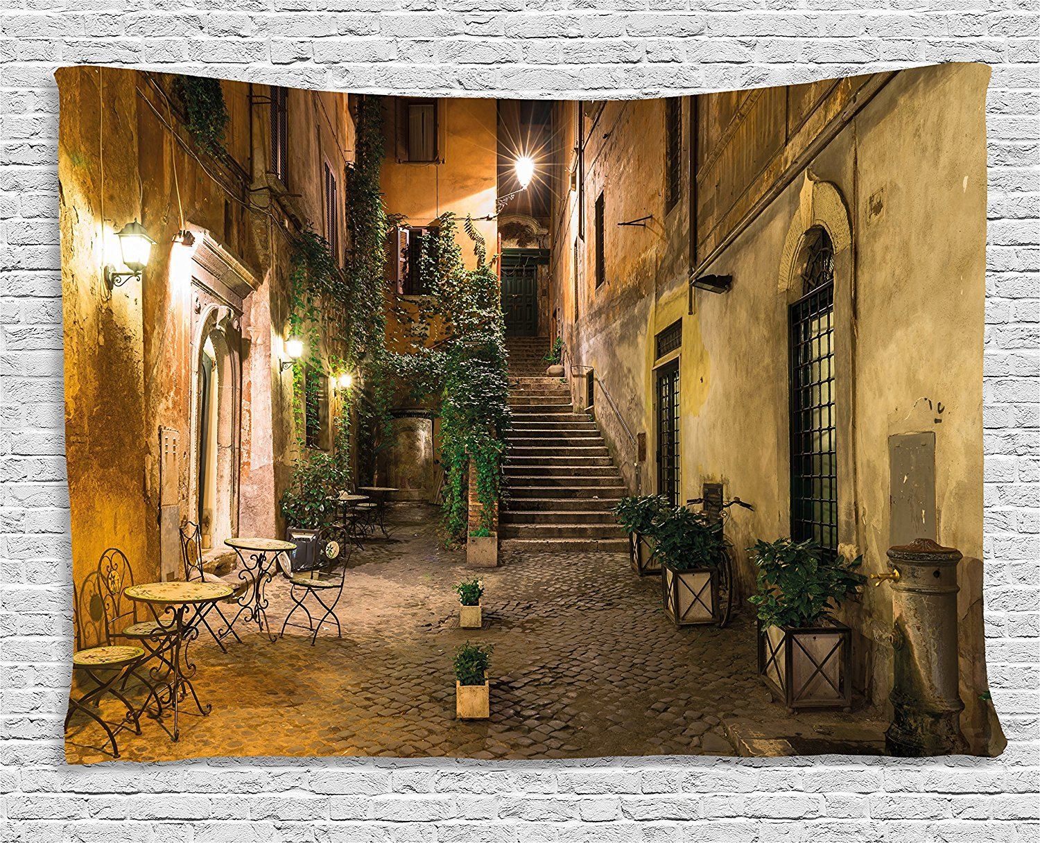 Italian Decor Tapestry Old Courtyard in Rome Italy Cafe Chairs City Ambience Houses Street, Wall Hanging for Bedroom