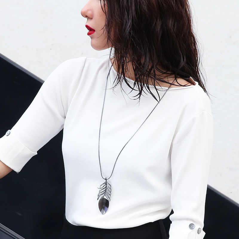 Оптовая продажа, брендовые лист кулон Цепочки и ожерелья черное оружие с покрытием СТРАЗА на длинной цепочке ожерелья из кристальных драгоценностей для Для женщин подарок DM725