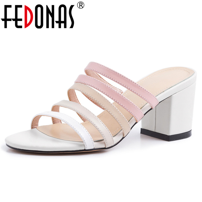 FEDONAS Fashion Concise Casual Shoes New Women Sandals Square Toe Basic Shoes Summer High Heeled Genuine Leather Shoes WomanFEDONAS Fashion Concise Casual Shoes New Women Sandals Square Toe Basic Shoes Summer High Heeled Genuine Leather Shoes Woman