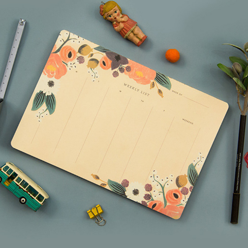 1Pcs Beautiful Floral Colourful Life Weekly Plan Schedule Notebook Creative Hardcover Planner Diary Book Students Gift 057