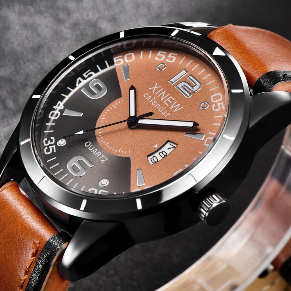 Wholesale Cheap Watches Mens Leather Band Calendar Quartz Wristwatches barato Erkek Saat relojes montre homme relogio masculino
