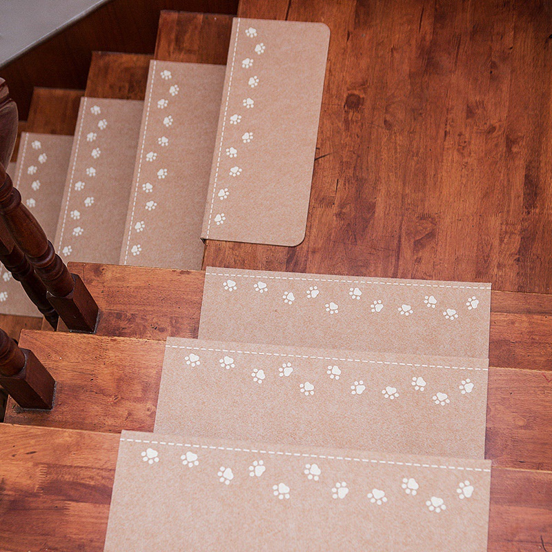 Home Staircase Pad Self-Adhesive Floor Sticker Safety Children Carpet Footprint Pattern Stair Non-slip Mat