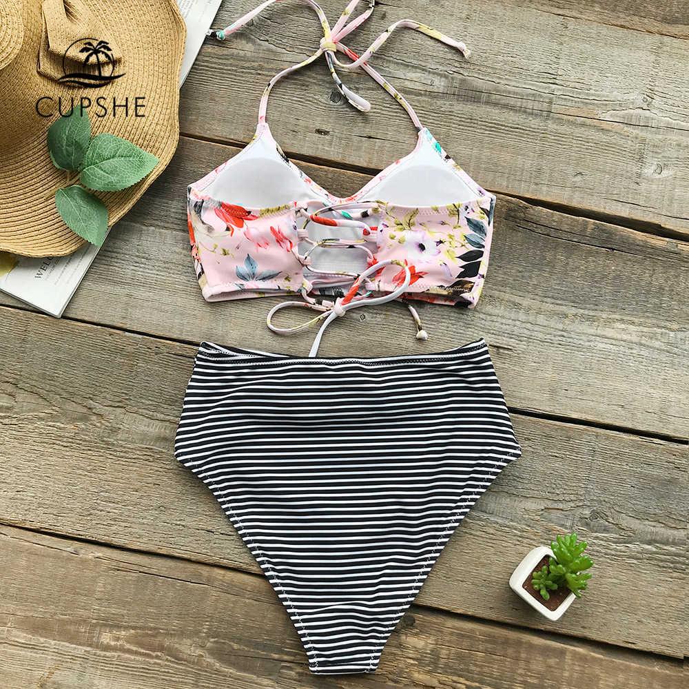 Комплект бикини с цветочным принтом и бретельками CUPSHE, женский купальник из двух частей в полоску со шнуровкой и высокой талией, новинка 2019 года, пляжные купальники