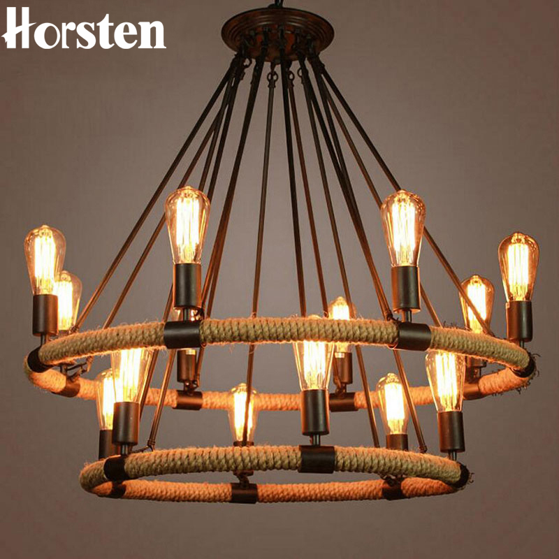 Horsten American Country Retro Hemp Rope Pendant Light Lamp Vintage Edison Bulb Hemp Cord Hanging Lights For Cafe Restaurant Bar creative personality hemp cafe bar chandelier corridor water anchor rope pendant lamp vintage american country