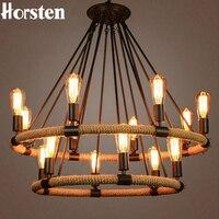 American Country Retro Hemp Rope Pendant Light Lamps Vintage Edison Bulb Hemp Cord Hanging Lights For