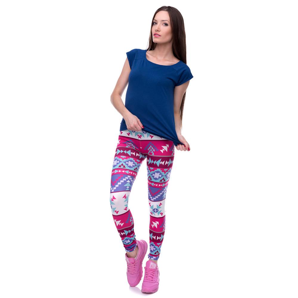 Zohra Brands Women Fashion Legging Aztec Round Ombre Printing leggins Slim High Waist Leggings Woman Pants 26