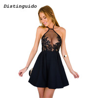 2018 Women Sleeveless Empire Summer Dress Backless Spaghetti Strap Sexy Lace Dress Black Elegant Party Dresses