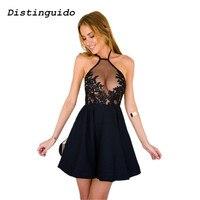 2018 Women Sleeveless Empire Summer Dress Backless Spaghetti Strap Sexy Lace Dress Black Elegant Party Dresses