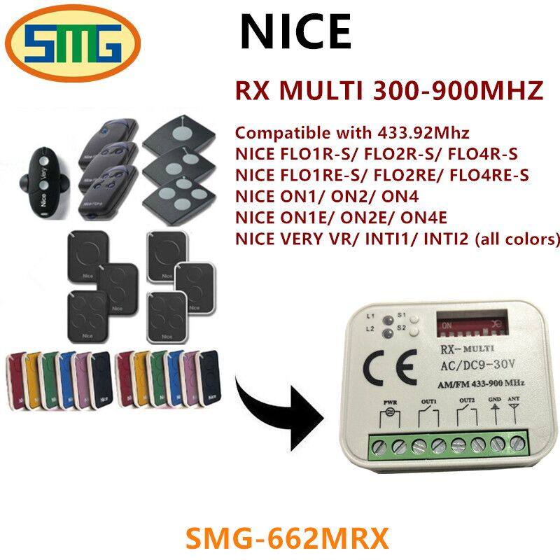 1 unids Venta caliente 300-900 MHz universal 2 canales totalmente compatible con Niza 433,92 MHz remoto controles envío libre
