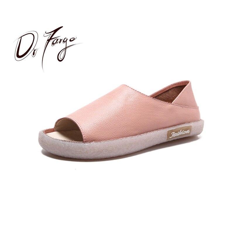 DRFARGO Genuine Leather 2018 Women Flats Peep Toe Summer Shoes Slip on Handmade Soft Walking Driving Shoes Pink Black size35-41