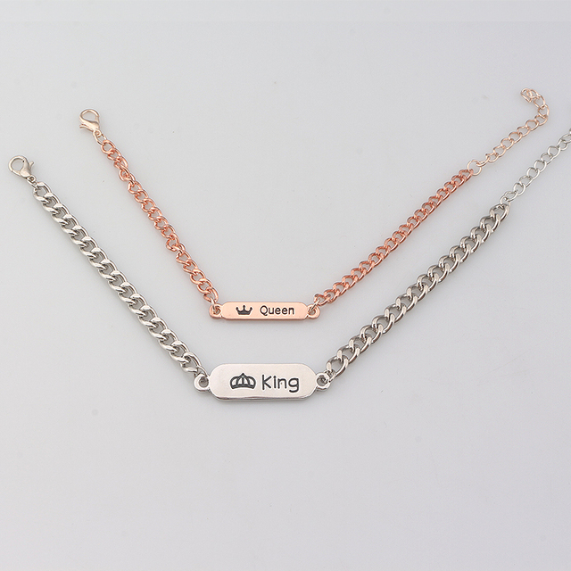 Fashion Jewelry Her King His Queen Chain Bracelet Bangle Silver and