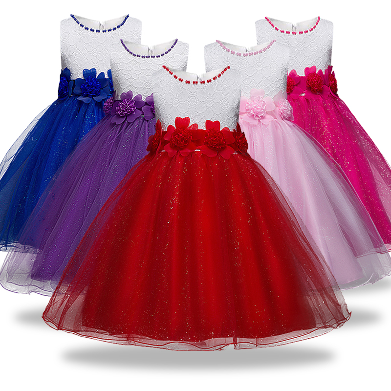 2019 New Baby   Girls     Dress   Lace Patchwork   Flower     Girl     Dress   For Party Kids Wedding   Dresses   Christmas   Dress     Girls   Clothes 3-12yrs