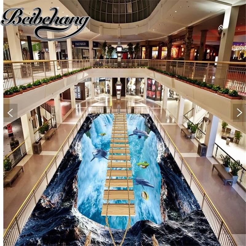 beibehang Custom self-adhesive 3D floor Waterproof Waterfall dolphin 3d floor painting wallpaper for bathrooms Home Decorat