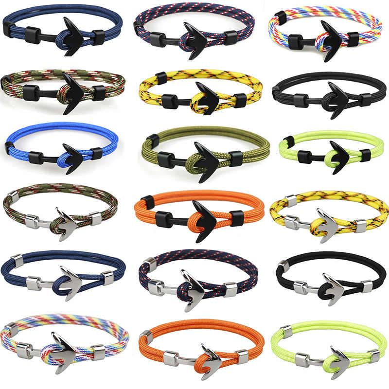 Liny złoty kotwica bransoletka liny bransoletka dla kobiety mężczyźni chłopiec dziewczyna