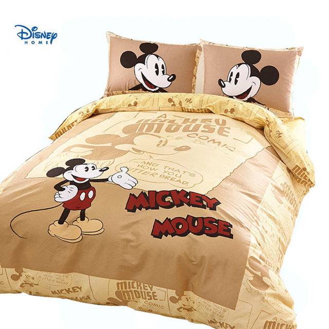 Mickey Mouse comforter bedding set king queen twin full size cartoon duvet cover cotton bed sheet set pillow cases boy girl beds