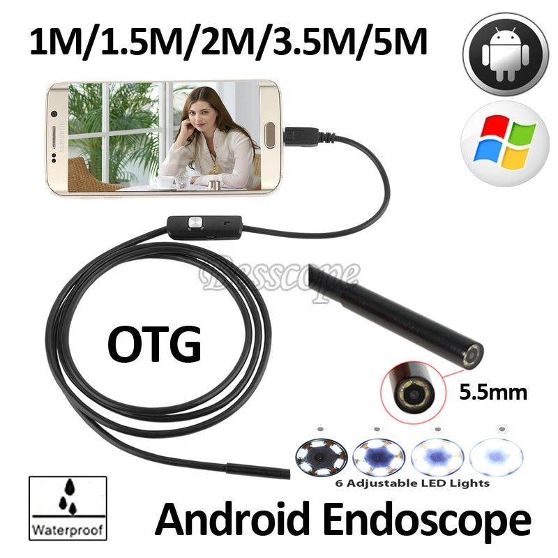 1M1.5m 2M 3.5M 5M USB Snake Android USB Endoscope Camera 5.5mm USB Borescope Flexible USB Waterproof Inspection Borescope Camera 2m 4 led usb waterproof endoscope borescope snake camera