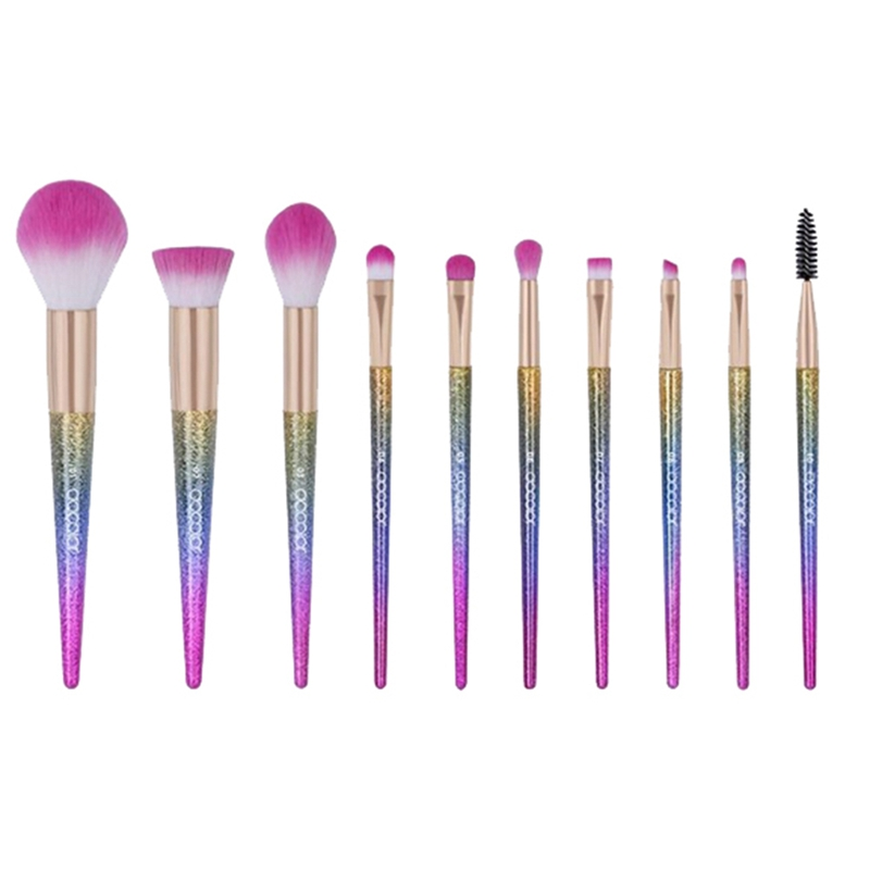 10Pcs Makeup Brushes set Professional High Quality Foundation Powder Eyeshadow Kits Gradient color Makeup Brush Cosmetic Set finding color professional wooden cosmetic makeup bevel foundation brush brown