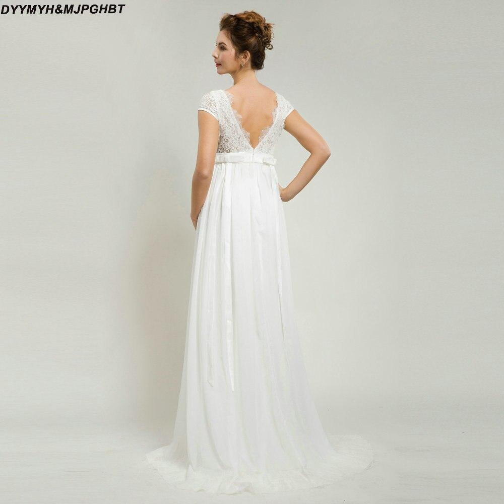 Vintage Beach Bridal Gowns V Neck Lace Top Cap Sleeve V Back ...