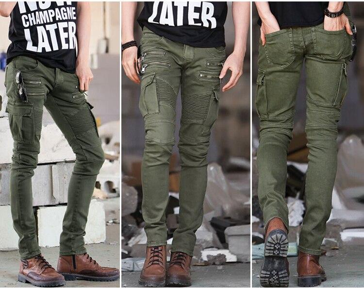 Новое прибытие джинсовые мужские байкерские джинсы скинни молнии зеленый плюс Размеры ...