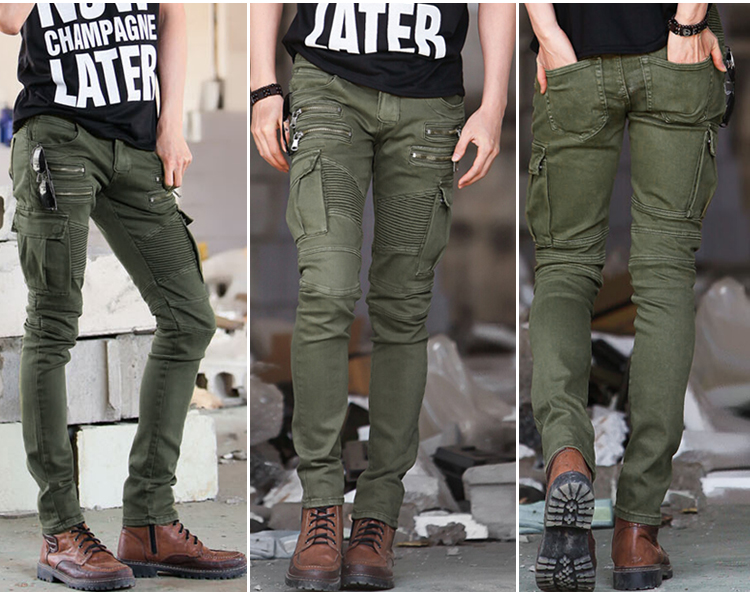 New arrival Denim Mens Skinny Biker Jeans Zippers Green Plus Size