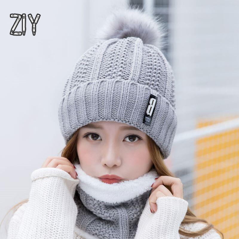 Winter Warm Knitted Scarf Pompom   Beanie   Hats for A Girl Thick Knitted Crochet Hat   Skullies     Beanies   Brand Bonnet Vintage Hat Cap