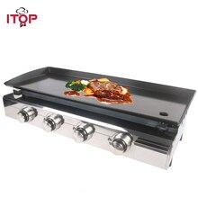 ITOP 4 горелки газовые Plancha барбекю грили Инструменты для барбекю на открытом месте антипригарные варочные плиты сверхмощная машина сковородка для барбекю