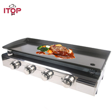 Купить с кэшбэком ITOP 4 Burners Gas Plancha BBQ Grills Outdoor Barbecue Tools Non-stick Cooking Hot Plates Heavy Duty Machine BBQ Griddle