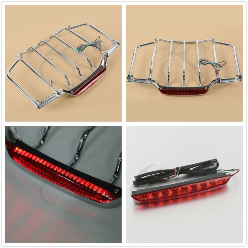 Air Wing Luggage Rack LED Brake TailLight For Harley Electra Street Glide Road Glide 93-13 Motorcycle Accessories