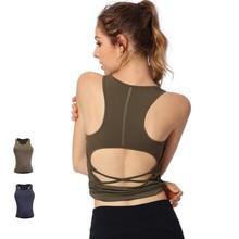 Women Yoga Shirts Backless Pad Yoga Vest Crop Top Tank Top Running Jogging Casual Fitness Gym Workout Athletic Shirt Sweatshirts недорого