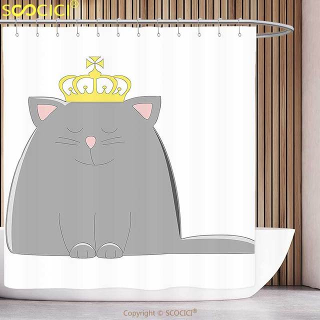 Stylish Shower Curtain Cartoon Charcoal Grey Colored Cat With King Queen Magestic Crown Kids Artwork Print