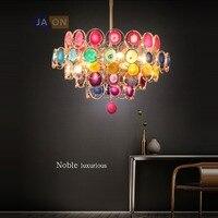 led e14 Postmodern Iron Agate Colorized Chandelier Lighting Lamparas De Techo Suspension Luminaire Lampen For Foyer