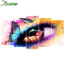 YOGOTOP DIY Diamond Painting Cross Stitch Kits Full Diamond Embroidery 5D Diamond Mosaic Home Decor Butterfly eyes 5pcs ML194 yogotop diy diamond painting cross stitch kits full diamond embroidery 5d diamond mosaic decor colorful butterfly 5pcs ml307