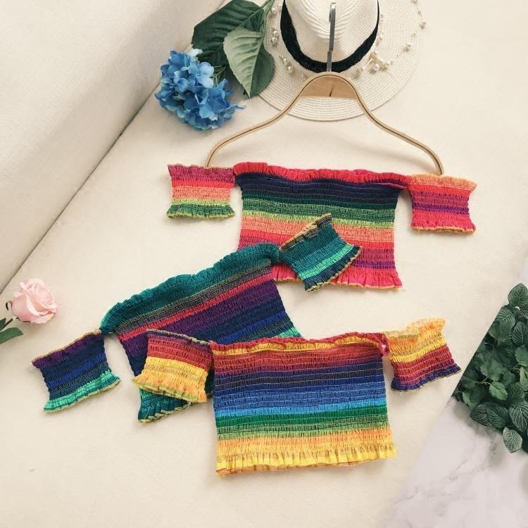 European Fashion Women Top Rainbow Hit Color Pleated Sexy Strapless Slash Neck Short Sleeve Female Vacation Beach Style Tops