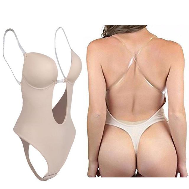 54b78d34ba3bd Women s Full Body Shaper Backless Shaperwear Thong Seamless U Plunge  Shapers Push up Slimming BodySuit Waist Shaperwear