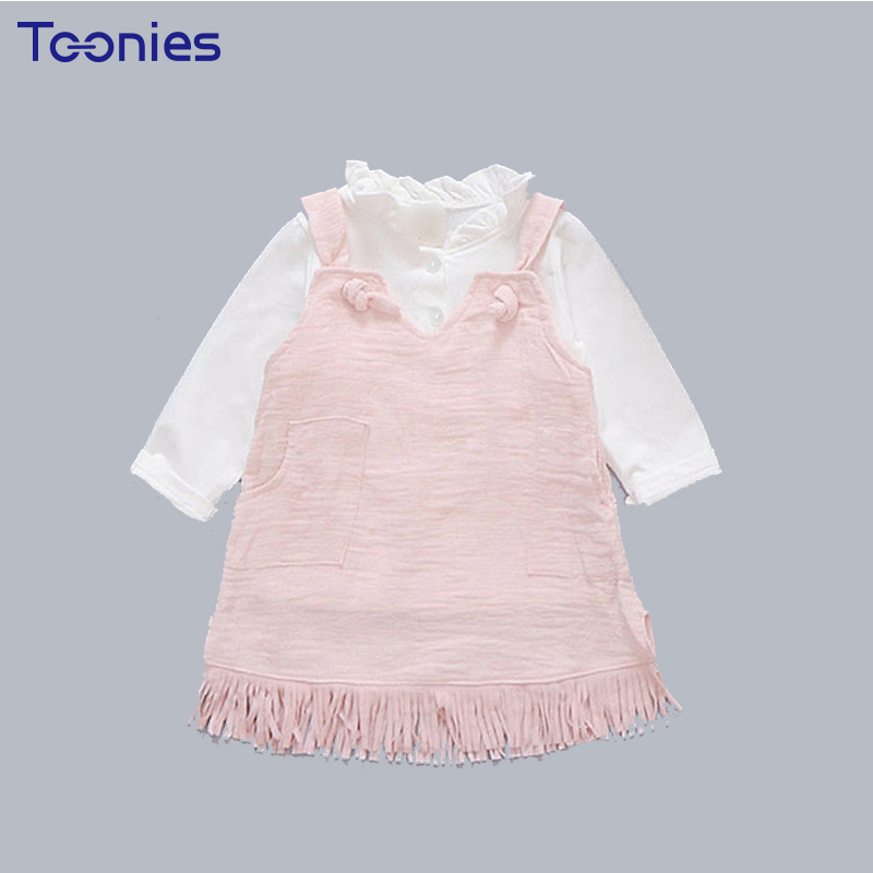 Cute Toddler Kids Baby Girls Sets White Tops Tassel Pocket Dress Cotton 2 Pieces Newborn Infant Girls Outfit Children Clothing