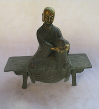 christmas decorations for home+ Chinese Old Bronze  Gold gilt  Carved Tang Dynasty Buddha  Statue/ Antique Sculpture