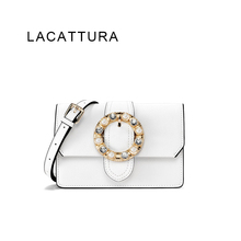 LACATTURA 2017 New It Bag Fashion Brand Design Women Genuine Leather Messenger Bag Real Cowskin Flower Miu Bag Small Cute Flap