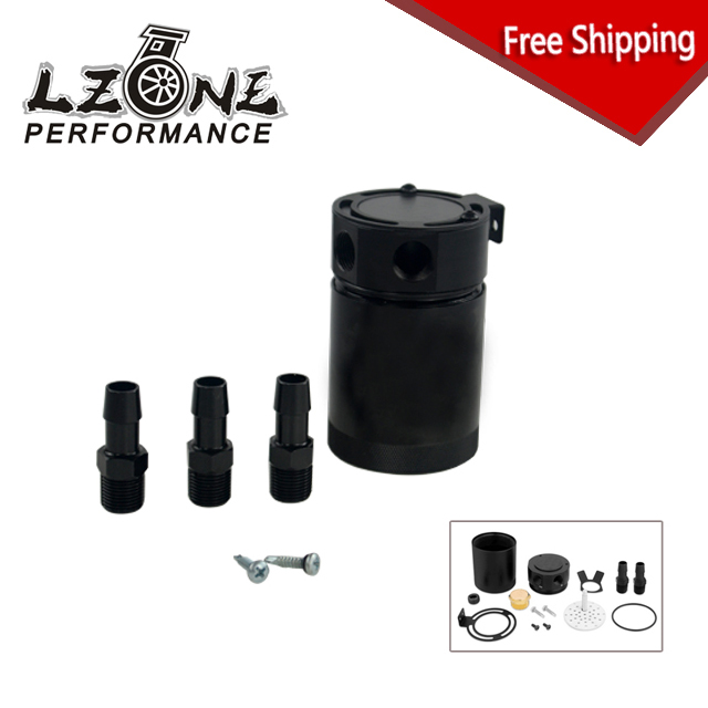 LZONE RACING - FREE SHIPPING RACING BAFFLED 3-PORT OIL CATCH CAN / TANK / AIR-OIL SEPARATOR UNIVESAL JR-TK66