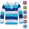 High Quality Boys T shirts Long Sleeve Children Sweaters Stripe Pattern Baby Boys Girls Unisex Tops Brand New Fashion Tees
