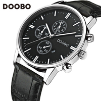 Mens Watches Top Brand Luxury Leather Strap Gold Watch Men Quartz Watch Clock Men DOOBO Fashion