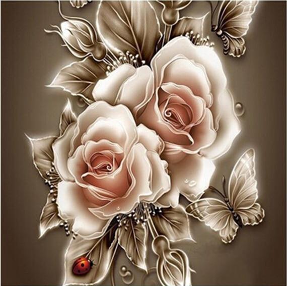 Yeni Elmas mozaik tam elmas nakış boncuk kelebek gül çiçekler - Sanat, el sanatları ve dikiş