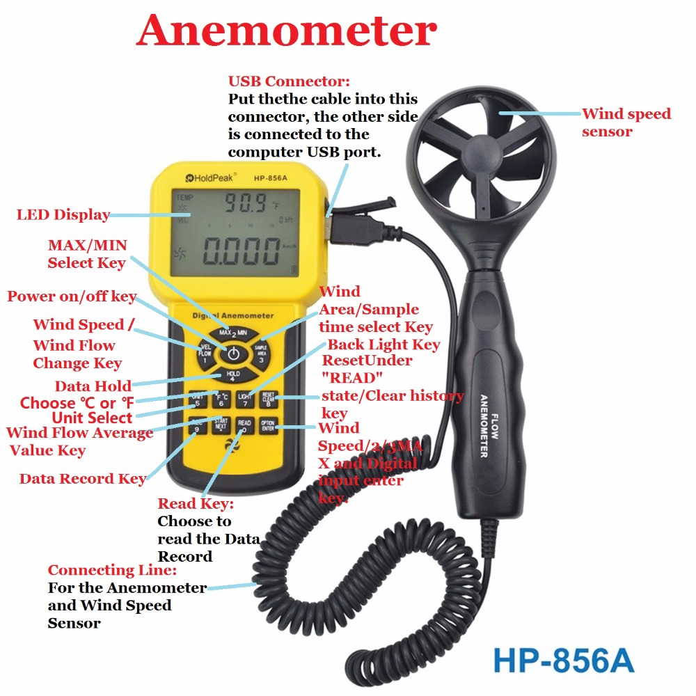 Digital Wind Speed Air Volume Meter HoldPeak HP-856A Anemometer USB/Handheld with Data Logger Temperature Range Data record hp 836a digital anemometer wind velocity meter with wind speed range 0 3 45m s