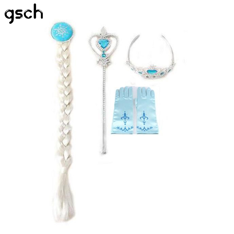 Snow Queen Elsa Disguise 4pcs Accessories Set (Crown + Wig +Magic Wand +glove)  Elsa Anna Cosplay Crown Tiara Hair Accessories